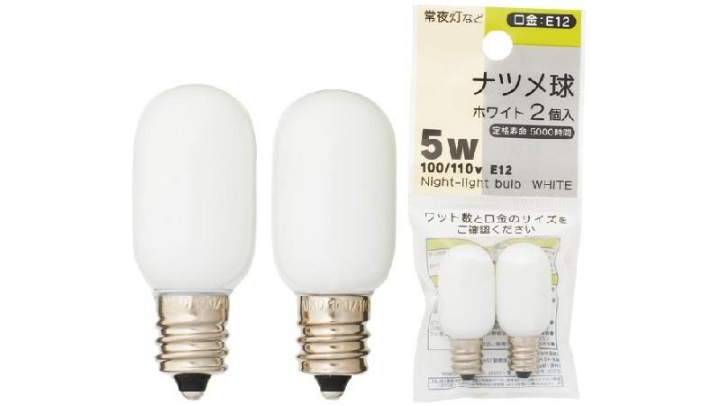 ナツメ球ホワイト/2P100/110V 5W E12