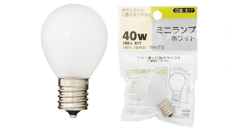 ミニランプ球ホワイト/1P 100V 40W E17